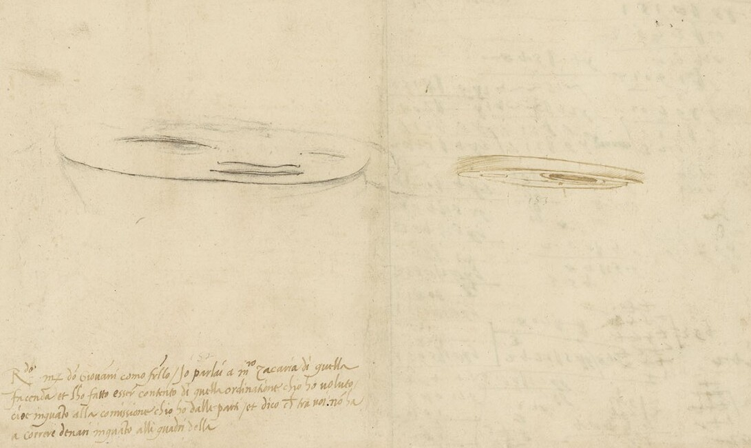 Da Vinci experimenting with  anamorphosis